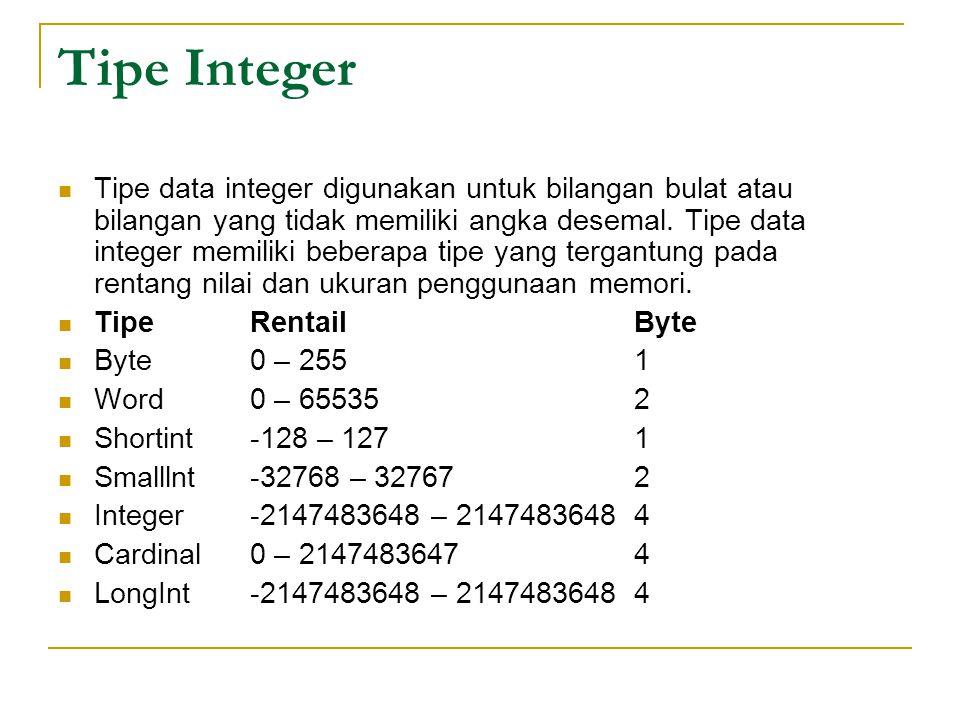 Tipe Integer Tipe data integer digunakan untuk bilangan bulat atau bilangan yang tidak memiliki angka desemal.