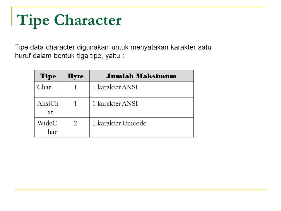 Tipe Character Tipe data character digunakan untuk menyatakan karakter satu huruf dalam bentuk tiga tipe, yaitu : TipeByteJumlah Maksimum Char11 karakter ANSI AnsiCh ar 11 karakter ANSI WideC har 21 karakter Unicode
