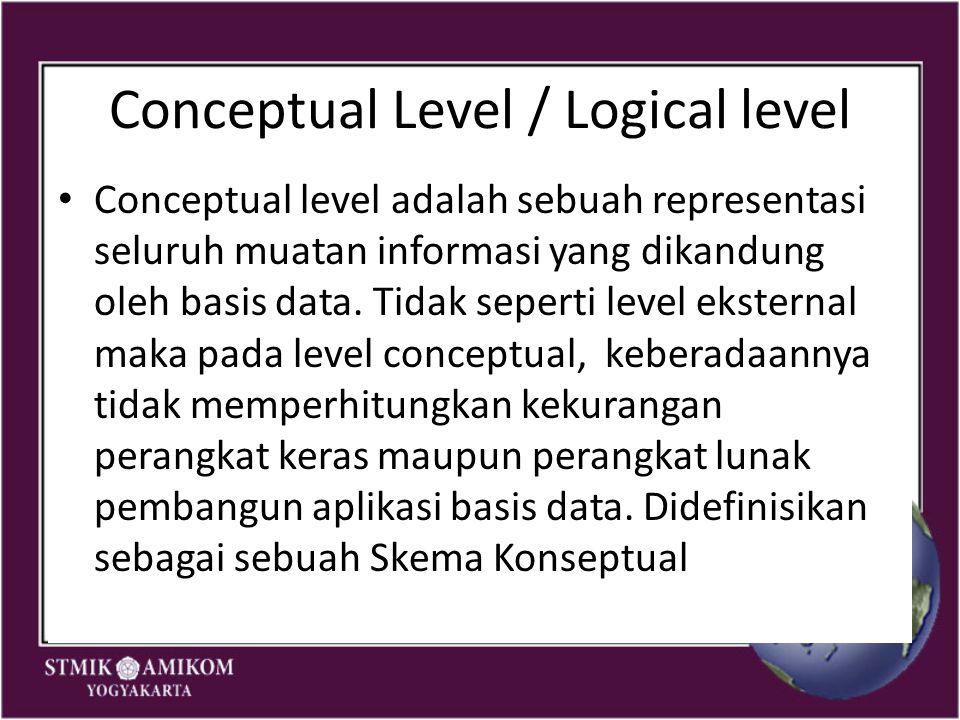 Conceptual Level / Logical level Conceptual level adalah sebuah representasi seluruh muatan informasi yang dikandung oleh basis data. Tidak seperti le