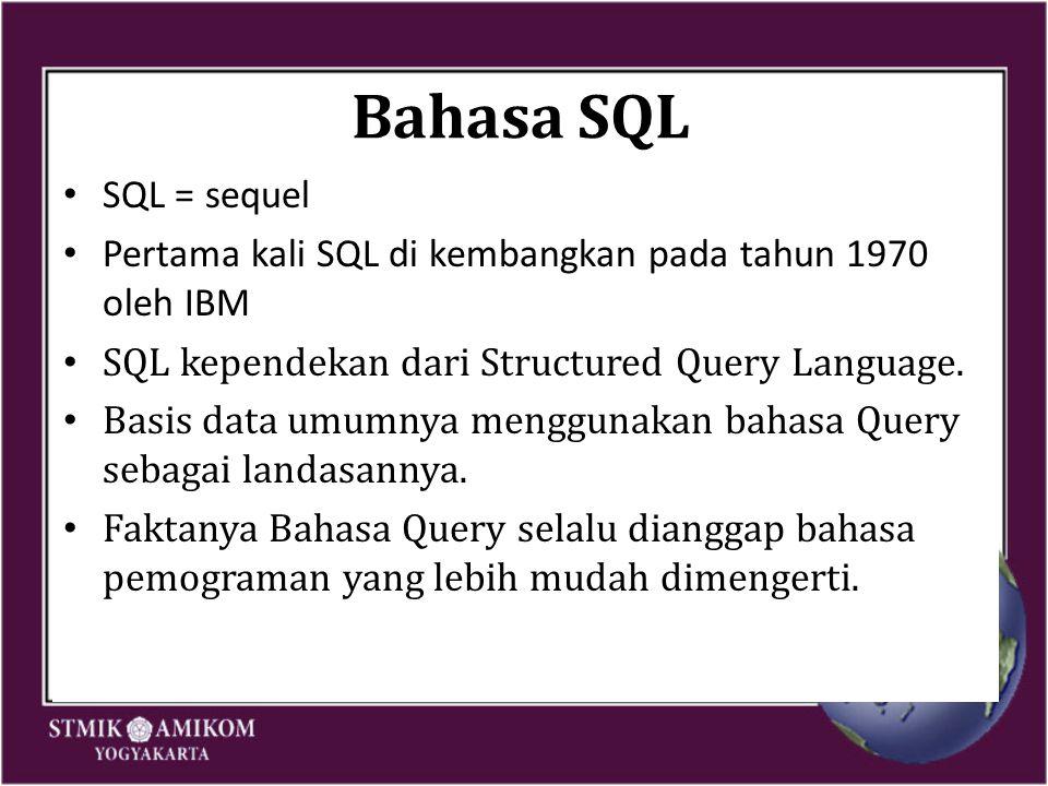 Bahasa SQL SQL = sequel Pertama kali SQL di kembangkan pada tahun 1970 oleh IBM SQL kependekan dari Structured Query Language. Basis data umumnya meng