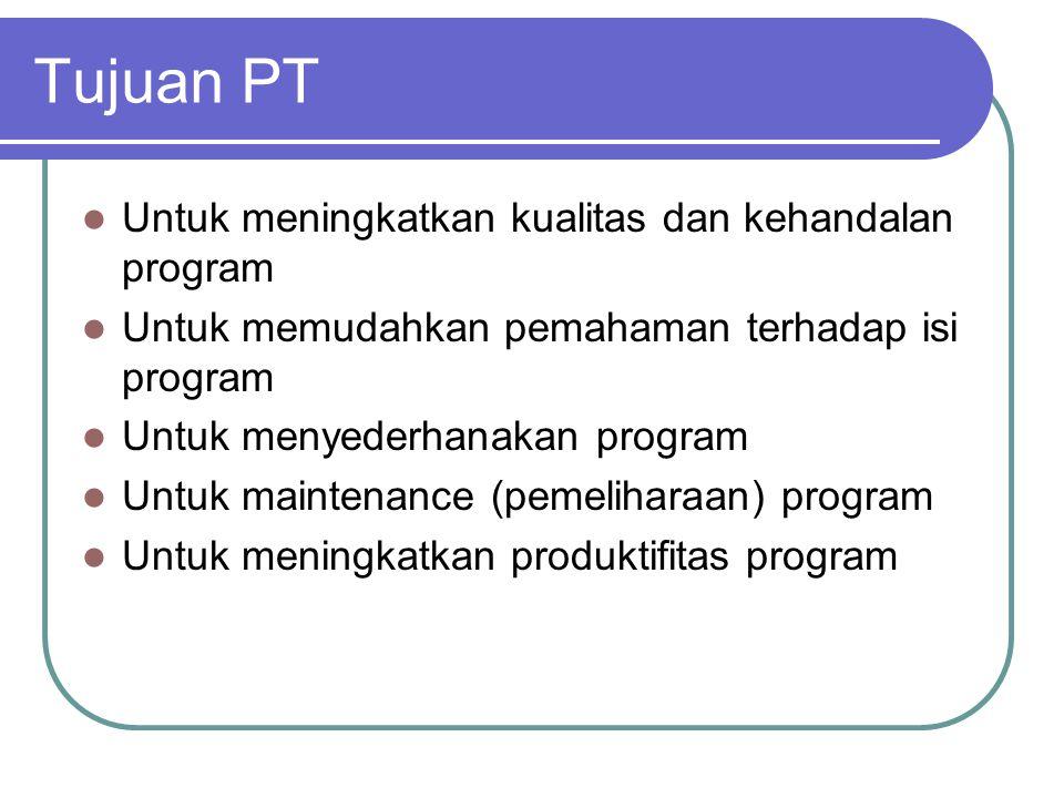 Tujuan PT Untuk meningkatkan kualitas dan kehandalan program Untuk memudahkan pemahaman terhadap isi program Untuk menyederhanakan program Untuk maintenance (pemeliharaan) program Untuk meningkatkan produktifitas program