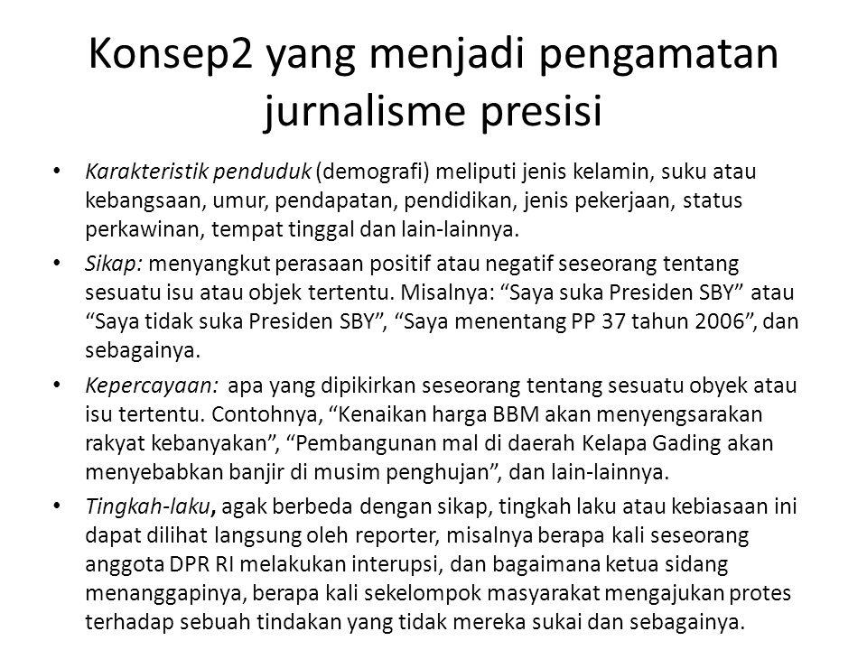 Konsep2 yang menjadi pengamatan jurnalisme presisi Karakteristik penduduk (demografi) meliputi jenis kelamin, suku atau kebangsaan, umur, pendapatan, pendidikan, jenis pekerjaan, status perkawinan, tempat tinggal dan lain-lainnya.
