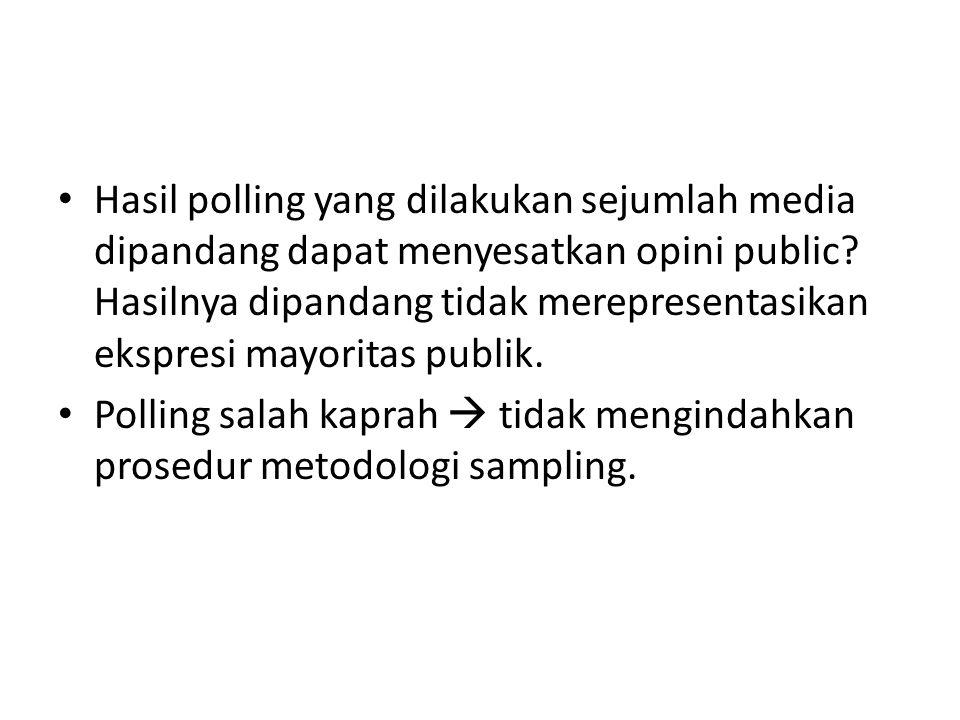 Hasil polling yang dilakukan sejumlah media dipandang dapat menyesatkan opini public.