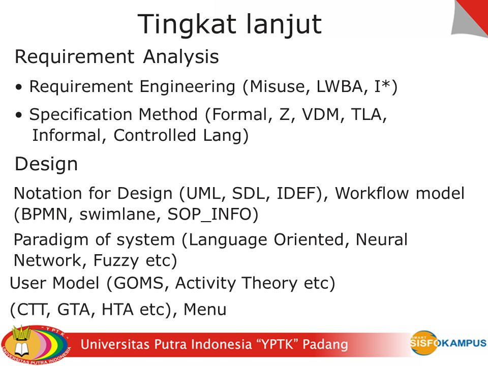 Sistem Informasi Lanjut Manusia, organisasi SOP (Business Engineering) Cultur (index Hofstede) Pengguna (Ethnography, Activity Theory, Groupware Task