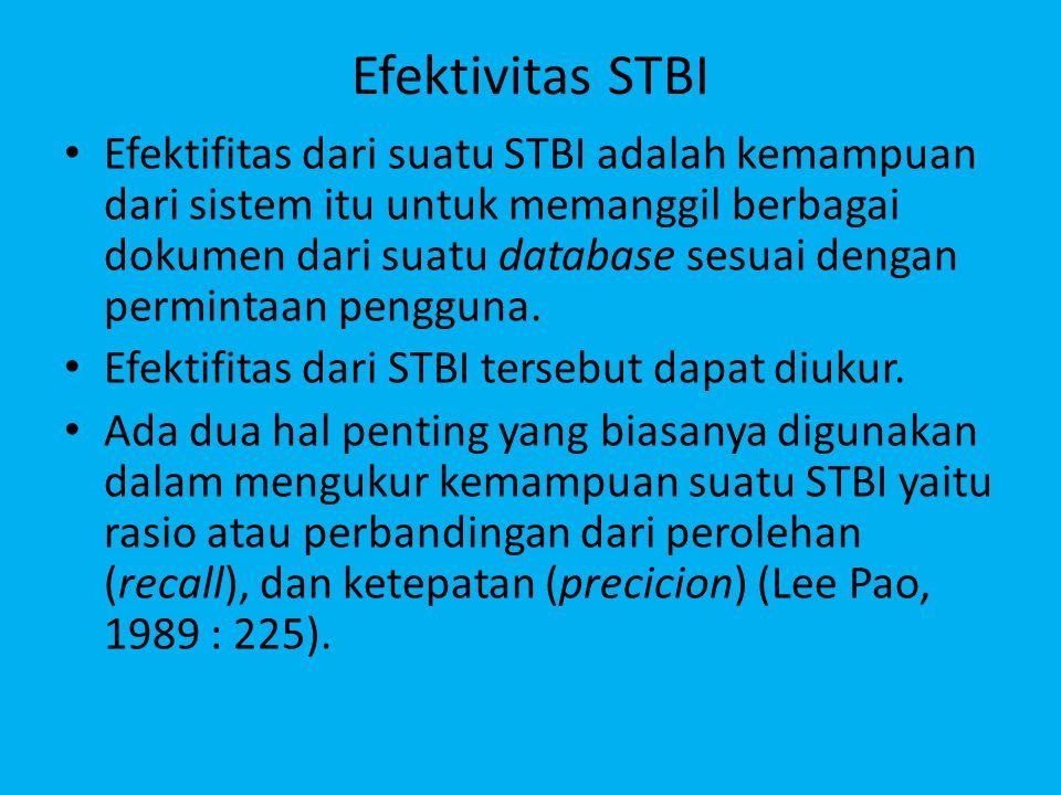 Efektivitas STBI Efektifitas dari suatu STBI adalah kemampuan dari sistem itu untuk memanggil berbagai dokumen dari suatu database sesuai dengan permintaan pengguna.