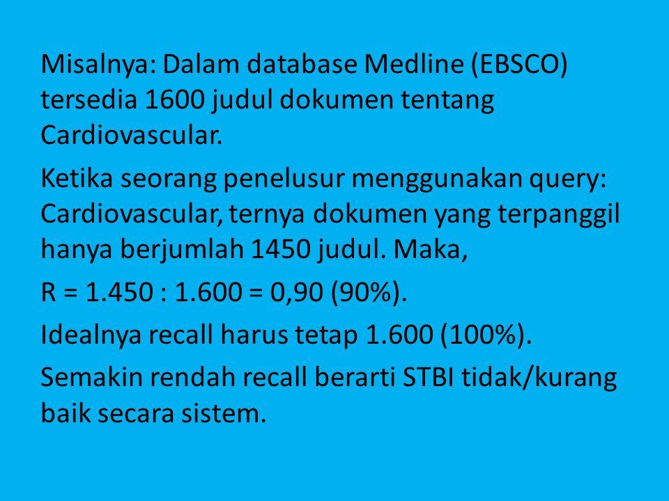 Misalnya: Dalam database Medline (EBSCO) tersedia 1600 judul dokumen tentang Cardiovascular.