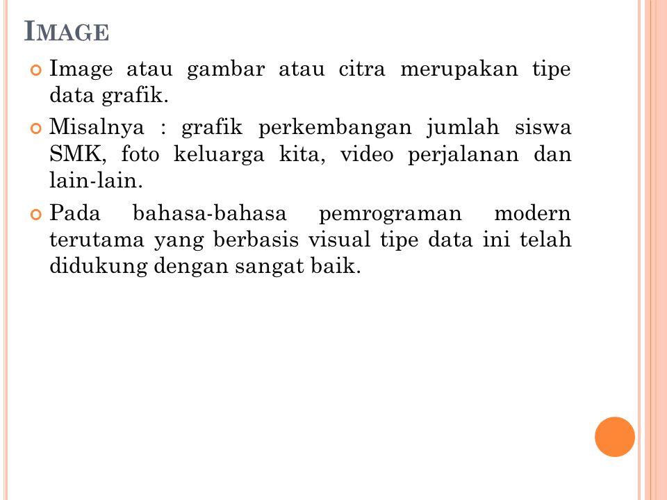 I MAGE Image atau gambar atau citra merupakan tipe data grafik.