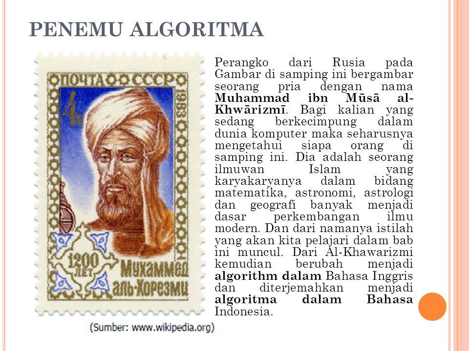 PENEMU ALGORITMA Perangko dari Rusia pada Gambar di samping ini bergambar seorang pria dengan nama Muhammad ibn Mūsā al- Khwārizmī. Bagi kalian yang s