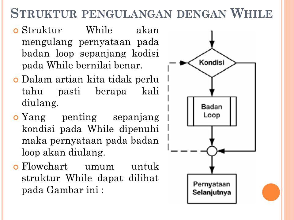 S TRUKTUR PENGULANGAN DENGAN W HILE Struktur While akan mengulang pernyataan pada badan loop sepanjang kodisi pada While bernilai benar. Dalam artian
