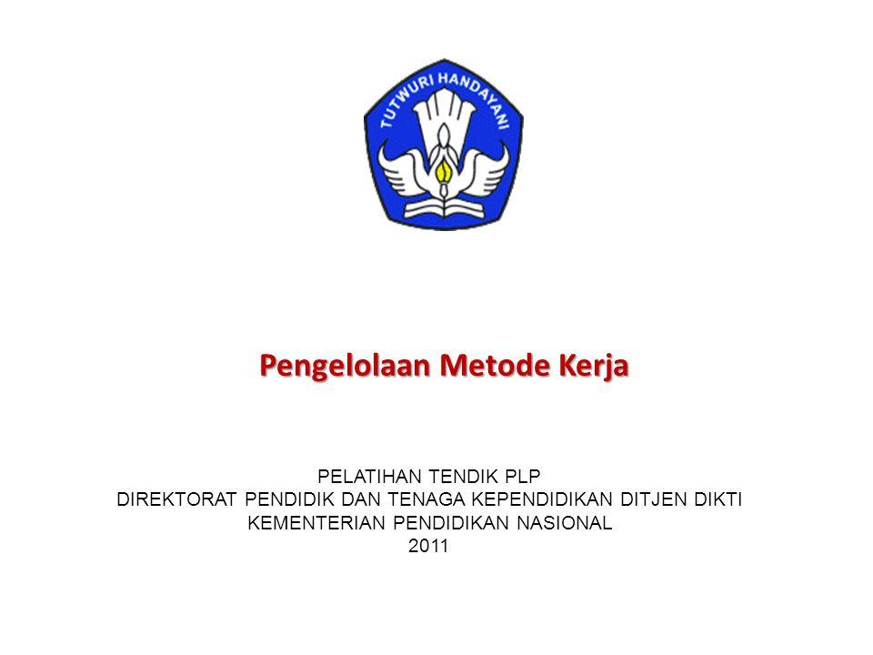 Pengelolaan Metode Kerja PELATIHAN TENDIK PLP DIREKTORAT PENDIDIK DAN TENAGA KEPENDIDIKAN DITJEN DIKTI KEMENTERIAN PENDIDIKAN NASIONAL 2011