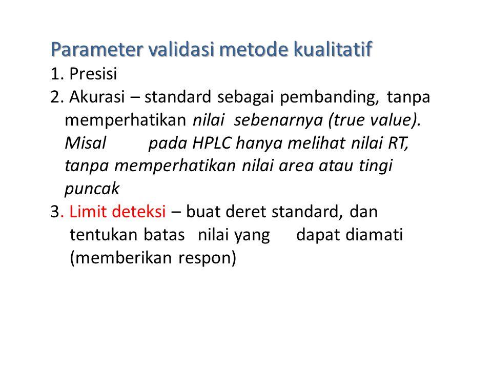 Kualitatif - identifikasi Serangkaian pengujian (pengamatan) yang dapat membuktikan keberadaan suatu analit.