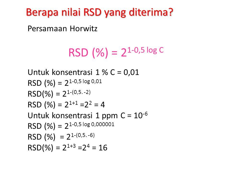 Presisi – contoh dilakukan di laboratorium - Pelaksana (analis) - Minimal 3 orang - Sampel : standard dalam matrik atau sampel lapangan, jumlah minimal tertentu - Dihitung rata rata dan SD dari : pengujian pada hari yang sama, metode dan sampel sama tetapi pelaksana berbeda -Dihitung rata rata (x) dan SD dari : pengujian pada hari yang berbeda, metode dan sampel sama tetapi pelaksana sama -RSD adalah SD X 100 % x