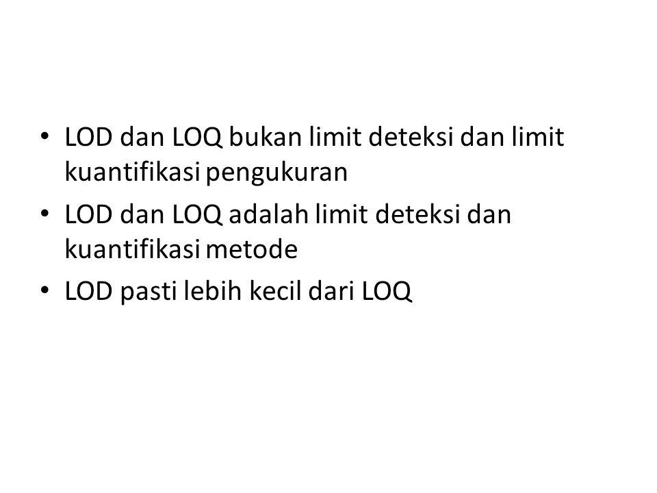 Limit deteksi (LOD) Limit deteksi adalah konsentrasi terendah dari analit dalam contoh yang dapat terdeteksi, akan tetapi tidak perlu terkuantisasi, d