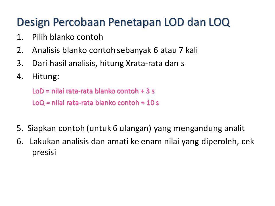 Bagaimana Cara Menentukan LOD dan LOQ? Lakukan analisis terhadap blanko contoh (tidak mengandung analit) sebanyak sekurang-kurangnya 7 kali LoD = nila