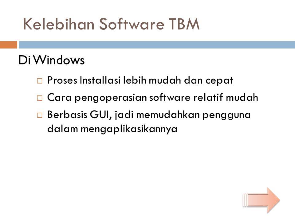 Kelebihan Software TBM  Proses Installasi lebih mudah dan cepat  Cara pengoperasian software relatif mudah  Berbasis GUI, jadi memudahkan pengguna dalam mengaplikasikannya Di Windows