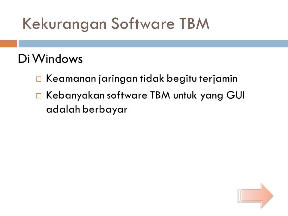 Kekurangan Software TBM  Keamanan jaringan tidak begitu terjamin  Kebanyakan software TBM untuk yang GUI adalah berbayar Di Windows