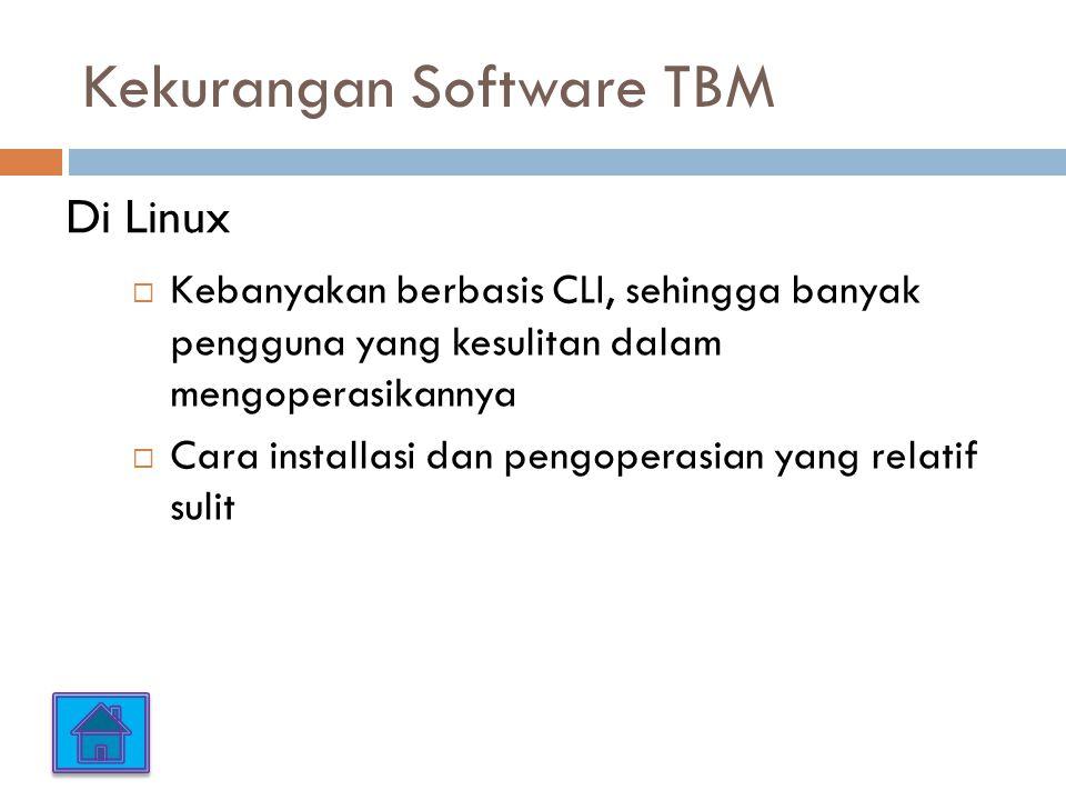 Kekurangan Software TBM  Kebanyakan berbasis CLI, sehingga banyak pengguna yang kesulitan dalam mengoperasikannya  Cara installasi dan pengoperasian yang relatif sulit Di Linux