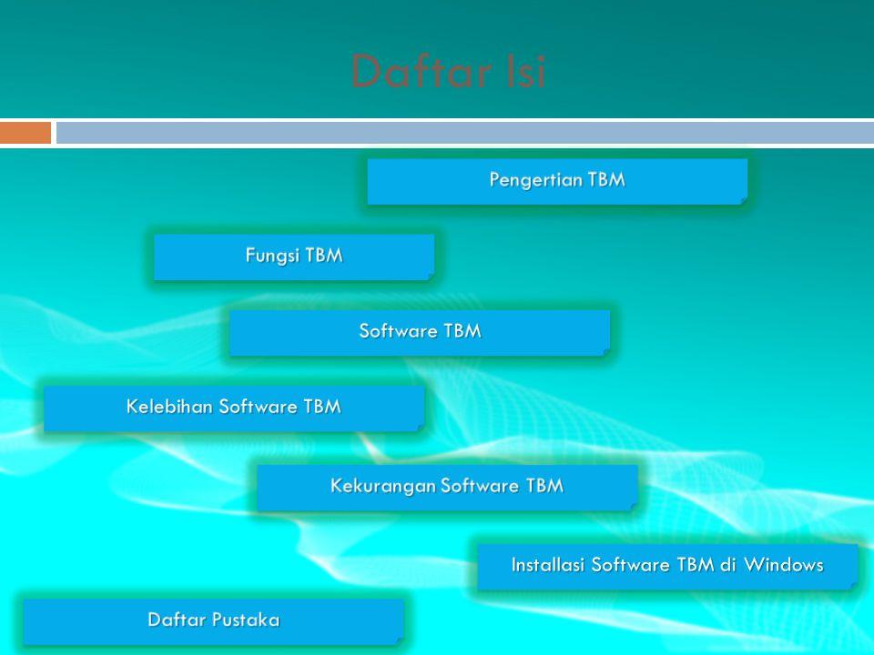 Daftar Isi Pengertian TBM Pengertian TBM Pengertian TBM Pengertian TBM Fungsi TBM Fungsi TBM Fungsi TBM Fungsi TBM Software TBM Software TBM Software