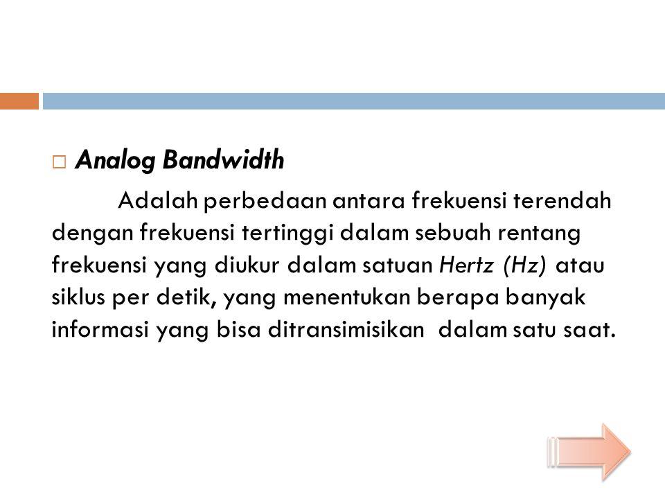  Analog Bandwidth Adalah perbedaan antara frekuensi terendah dengan frekuensi tertinggi dalam sebuah rentang frekuensi yang diukur dalam satuan Hertz