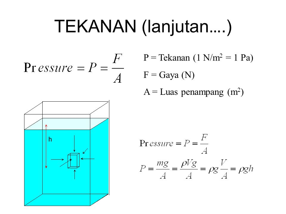 TEKANAN (lanjutan ….) P = Tekanan (1 N/m 2 = 1 Pa) F = Gaya (N) A = Luas penampang (m 2 )