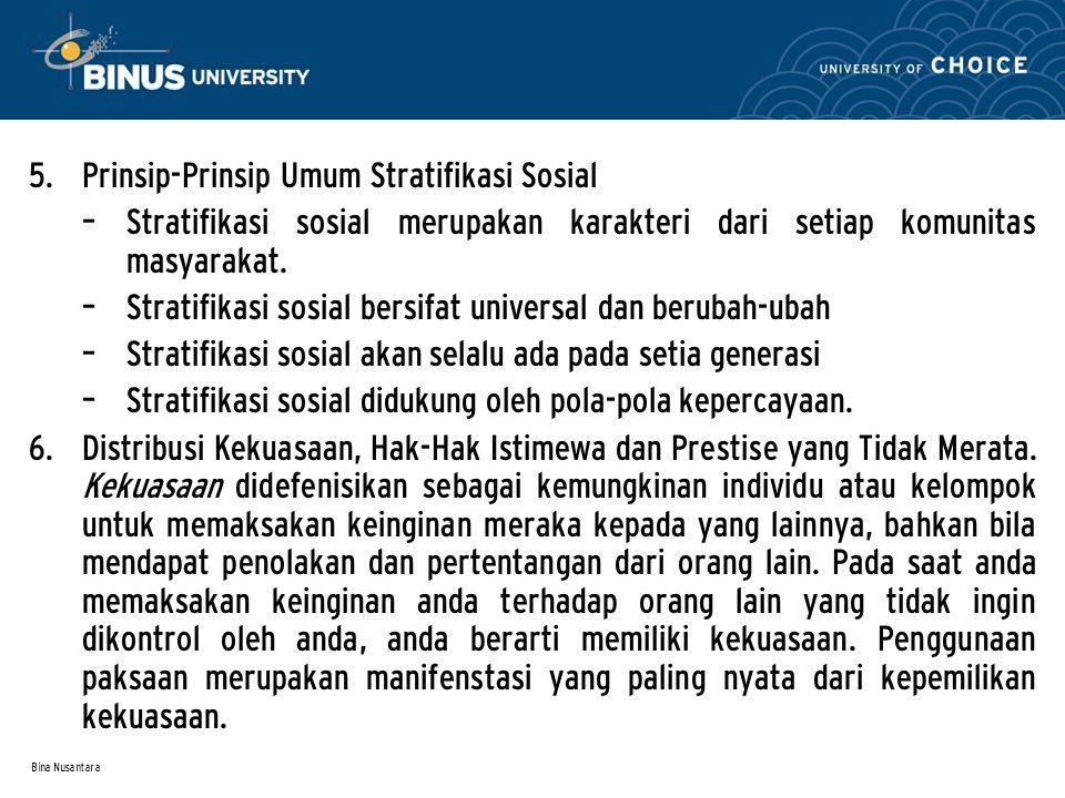 Bina Nusantara 5. Prinsip-Prinsip Umum Stratifikasi Sosial – Stratifikasi sosial merupakan karakteri dari setiap komunitas masyarakat. – Stratifikasi