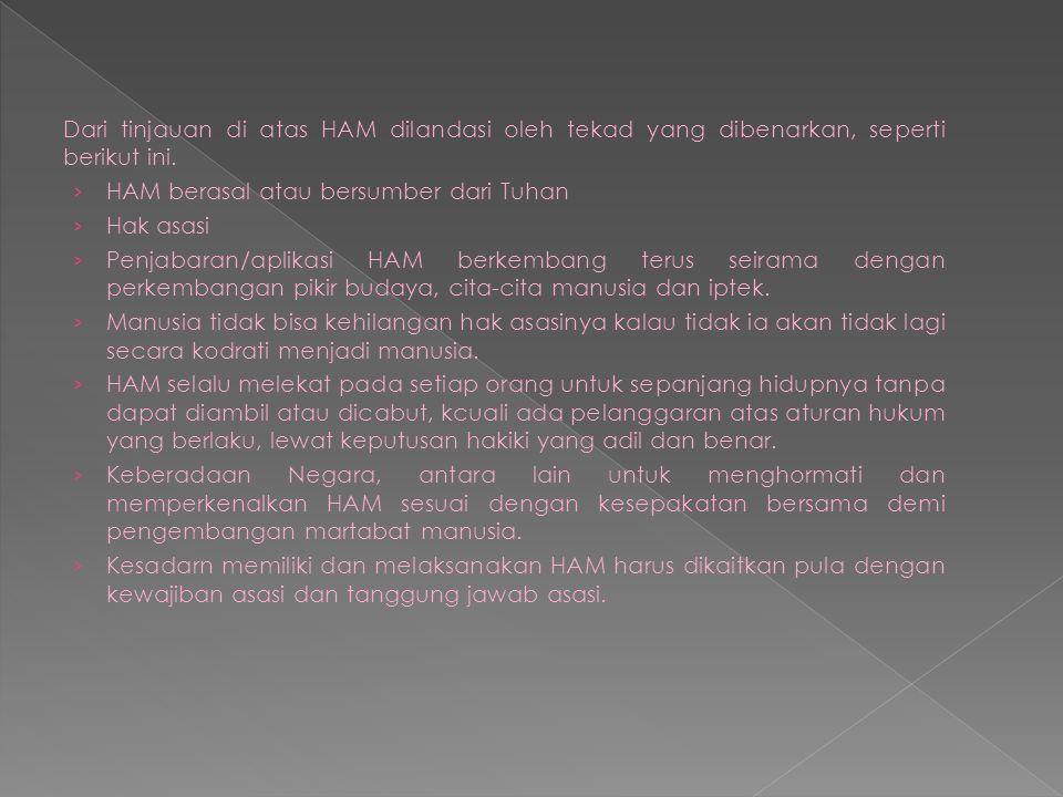 Dari tinjauan di atas HAM dilandasi oleh tekad yang dibenarkan, seperti berikut ini.