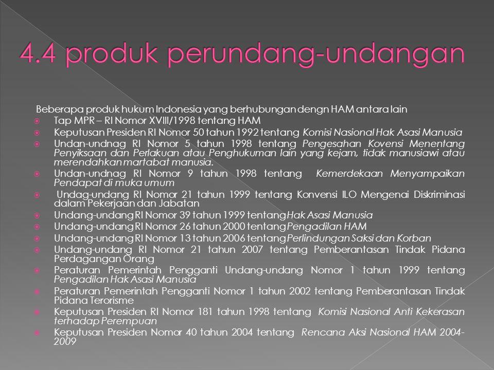 Beberapa produk hukum Indonesia yang berhubungan dengn HAM antara lain  Tap MPR – RI Nomor XVIII/1998 tentang HAM  Keputusan Presiden RI Nomor 50 tahun 1992 tentang Komisi Nasional Hak Asasi Manusia  Undan-undnag RI Nomor 5 tahun 1998 tentang Pengesahan Kovensi Menentang Penyiksaan dan Perlakuan atau Penghukuman lain yang kejam, tidak manusiawi atau merendahkan martabat manusia.