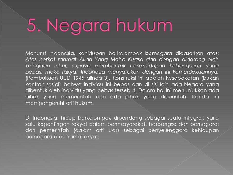 Menurut Indonesia, kehidupan berkelompok bernegara didasarkan atas: Atas berkat rahmat Allah Yang Maha Kuasa dan dengan didorong oleh keinginan luhur, supaya membentuk berkehidupan kebangsaan yang bebas, maka rakyat Indonesia menyatakan dengan ini kemerdekaannya.