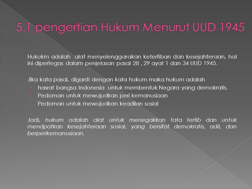 Hukukm adalah alat menyelenggarakan ketertiban dan kesejahteraan, hal ini dipertegas dalam penjelasan pasal 28, 29 ayat 1 dan 34 UUD 1945.