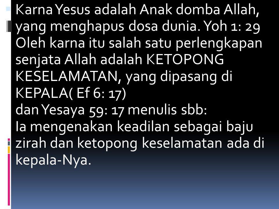 Karna Yesus adalah Anak domba Allah, yang menghapus dosa dunia.