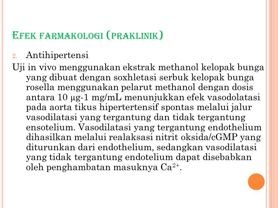 E FEK FARMAKOLOGI ( PRAKLINIK ) 2. Antihipertensi Uji in vivo menggunakan ekstrak methanol kelopak bunga yang dibuat dengan soxhletasi serbuk kelopak