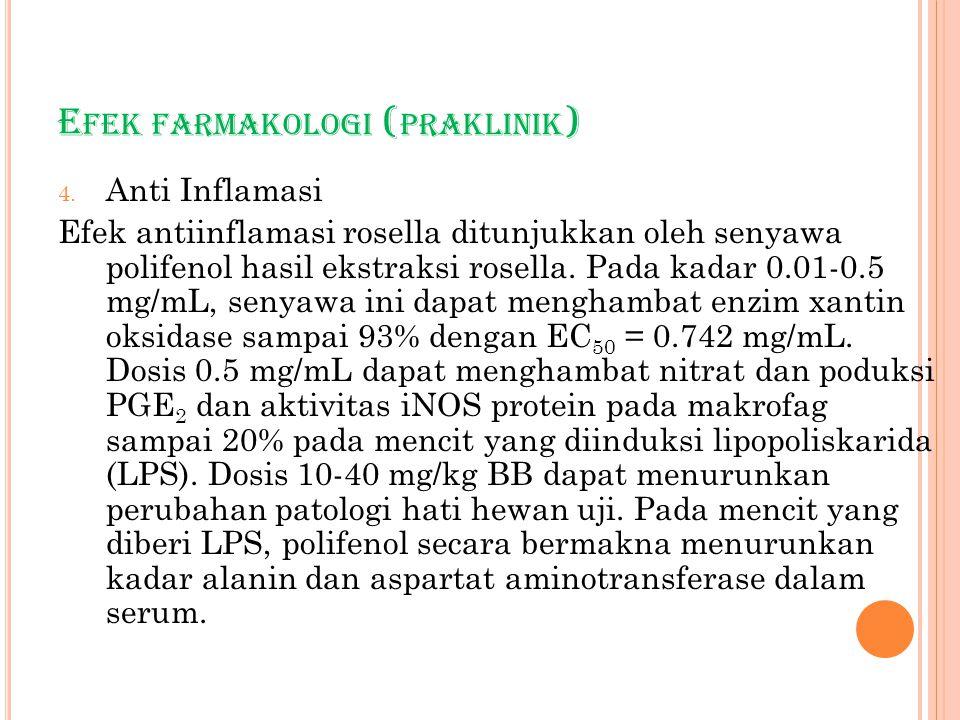 E FEK FARMAKOLOGI ( PRAKLINIK ) 4. Anti Inflamasi Efek antiinflamasi rosella ditunjukkan oleh senyawa polifenol hasil ekstraksi rosella. Pada kadar 0.