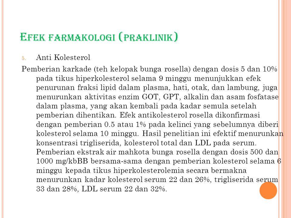 E FEK FARMAKOLOGI ( PRAKLINIK ) 5. Anti Kolesterol Pemberian karkade (teh kelopak bunga rosella) dengan dosis 5 dan 10% pada tikus hiperkolesterol sel