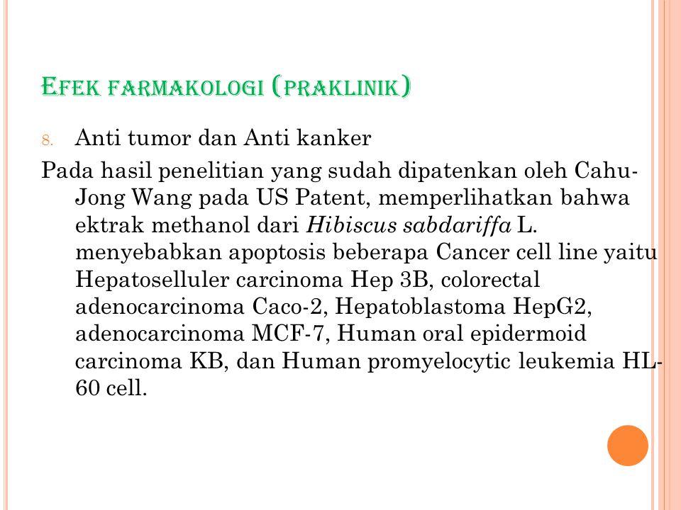E FEK FARMAKOLOGI ( PRAKLINIK ) 8. Anti tumor dan Anti kanker Pada hasil penelitian yang sudah dipatenkan oleh Cahu- Jong Wang pada US Patent, memperl