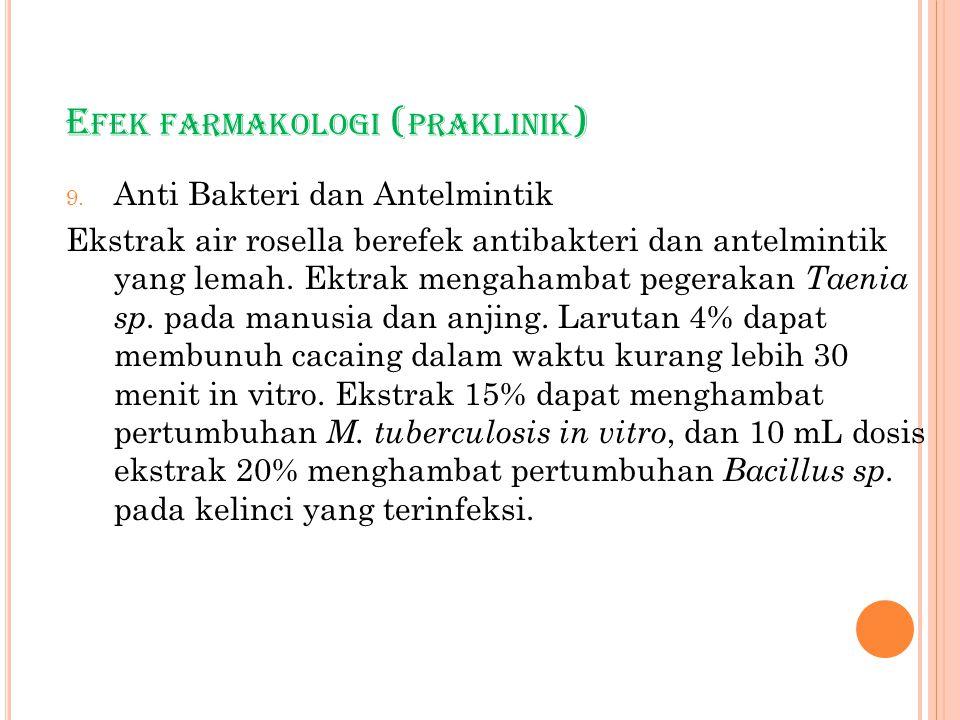 E FEK FARMAKOLOGI ( PRAKLINIK ) 9. Anti Bakteri dan Antelmintik Ekstrak air rosella berefek antibakteri dan antelmintik yang lemah. Ektrak mengahambat