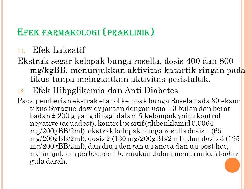 E FEK FARMAKOLOGI ( PRAKLINIK ) 11. Efek Laksatif Ekstrak segar kelopak bunga rosella, dosis 400 dan 800 mg/kgBB, menunjukkan aktivitas katartik ringa