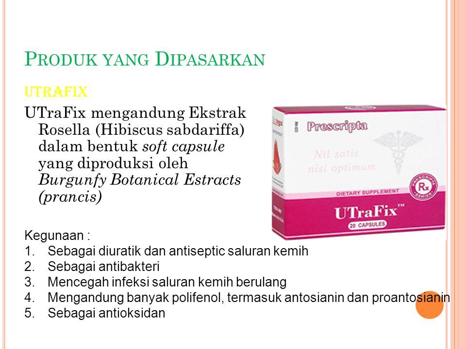 P RODUK YANG D IPASARKAN Utrafix UTraFix mengandung Ekstrak Rosella (Hibiscus sabdariffa) dalam bentuk soft capsule yang diproduksi oleh Burgunfy Bota