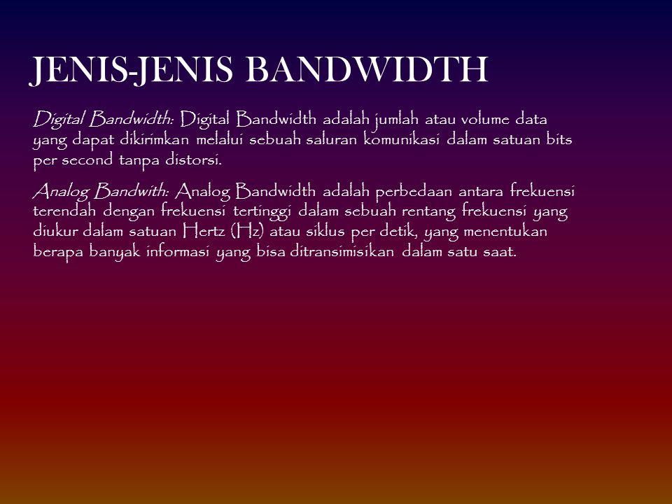 Digital Bandwidth: Digital Bandwidth adalah jumlah atau volume data yang dapat dikirimkan melalui sebuah saluran komunikasi dalam satuan bits per seco