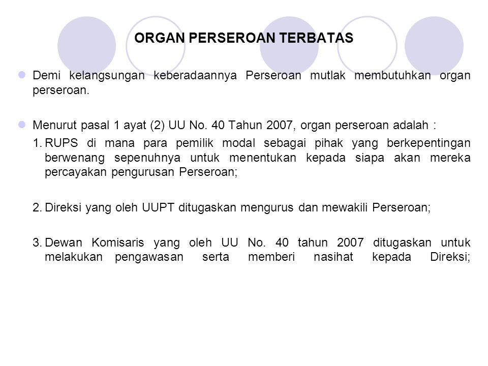 ORGAN PERSEROAN TERBATAS Demi kelangsungan keberadaannya Perseroan mutlak membutuhkan organ perseroan. Menurut pasal 1 ayat (2) UU No. 40 Tahun 2007,