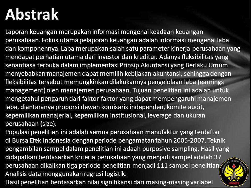 Abstrak Laporan keuangan merupakan informasi mengenai keadaan keuangan perusahaan.