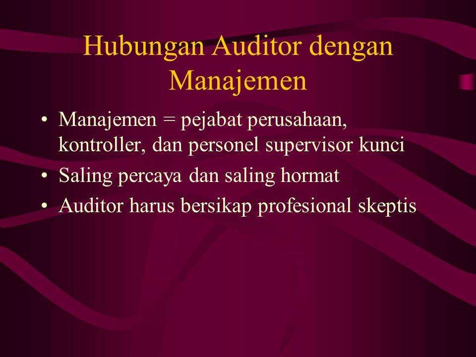 Hubungan Auditor dengan Manajemen Manajemen = pejabat perusahaan, kontroller, dan personel supervisor kunci Saling percaya dan saling hormat Auditor harus bersikap profesional skeptis