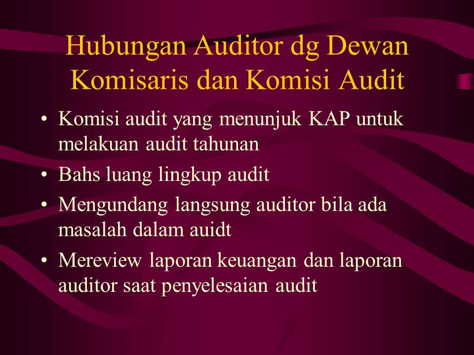 Hubungan Auditor dg Dewan Komisaris dan Komisi Audit Komisi audit yang menunjuk KAP untuk melakuan audit tahunan Bahs luang lingkup audit Mengundang langsung auditor bila ada masalah dalam auidt Mereview laporan keuangan dan laporan auditor saat penyelesaian audit