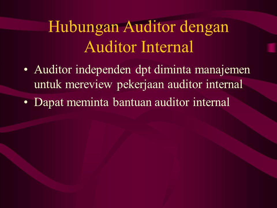 Hubungan Auditor dengan Auditor Internal Auditor independen dpt diminta manajemen untuk mereview pekerjaan auditor internal Dapat meminta bantuan audi