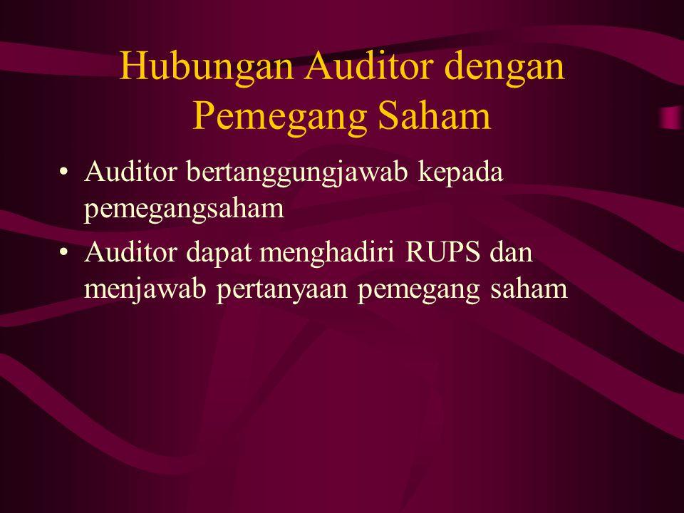 Hubungan Auditor dengan Pemegang Saham Auditor bertanggungjawab kepada pemegangsaham Auditor dapat menghadiri RUPS dan menjawab pertanyaan pemegang sa