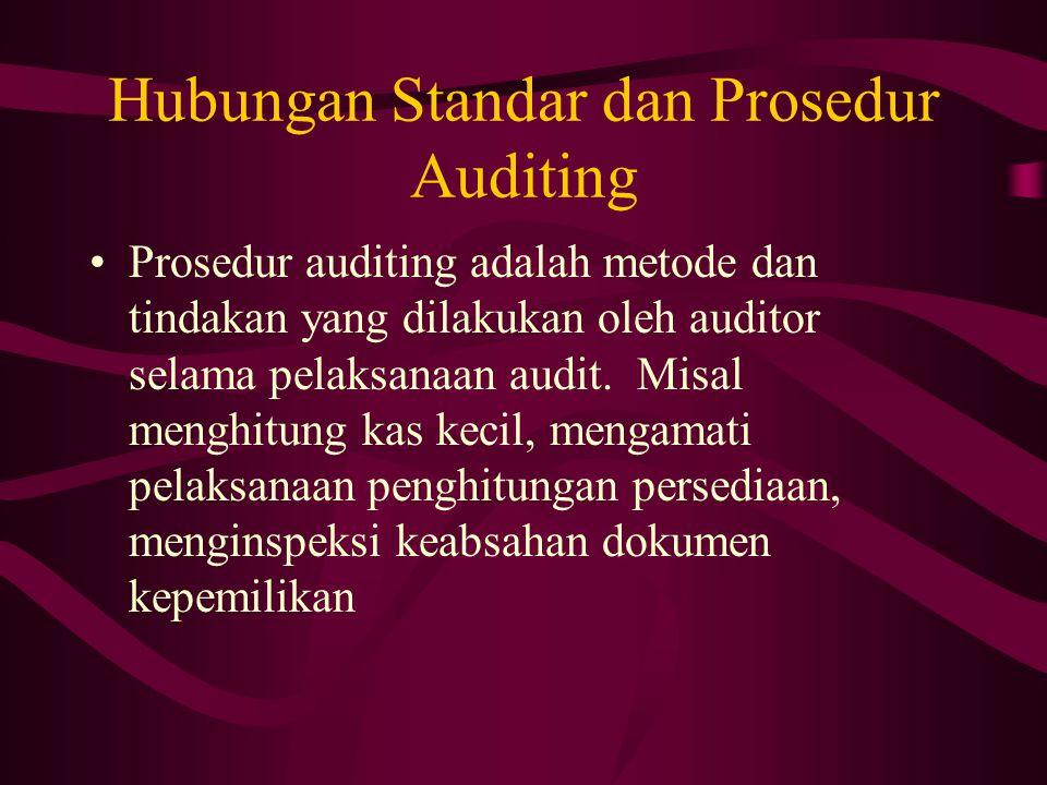 Hubungan Standar dan Prosedur Auditing Prosedur auditing adalah metode dan tindakan yang dilakukan oleh auditor selama pelaksanaan audit. Misal menghi