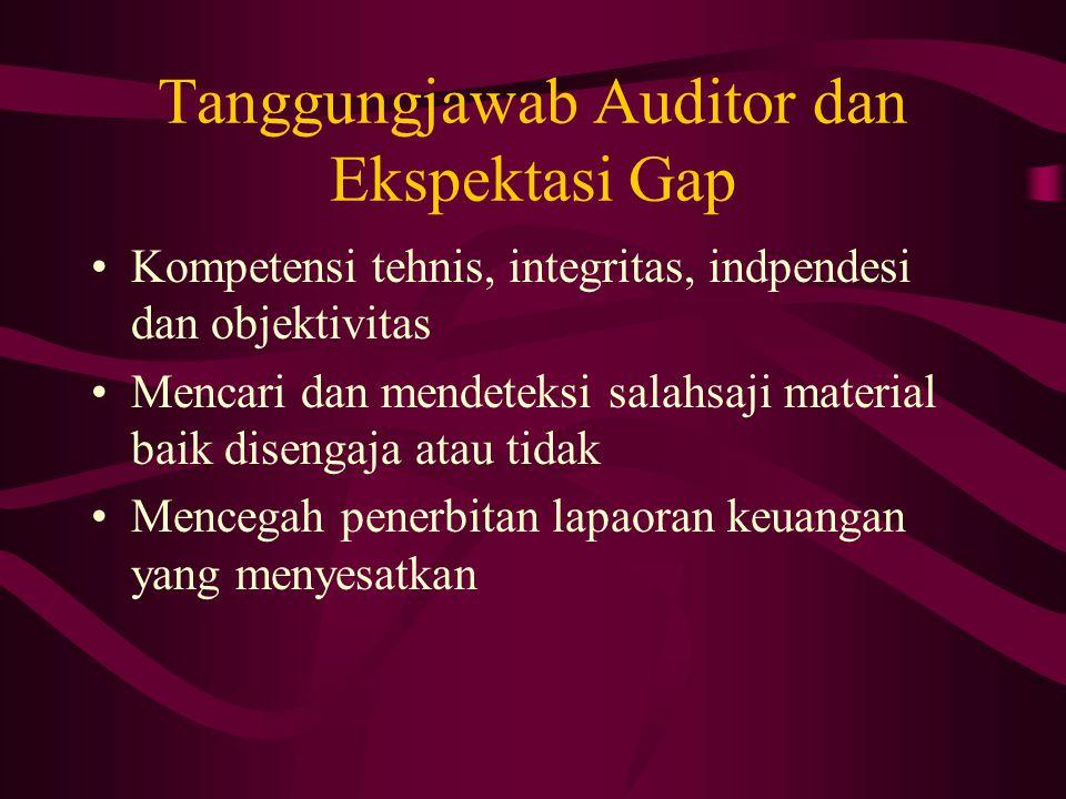 Tanggungjawab Auditor dan Ekspektasi Gap Kompetensi tehnis, integritas, indpendesi dan objektivitas Mencari dan mendeteksi salahsaji material baik disengaja atau tidak Mencegah penerbitan lapaoran keuangan yang menyesatkan