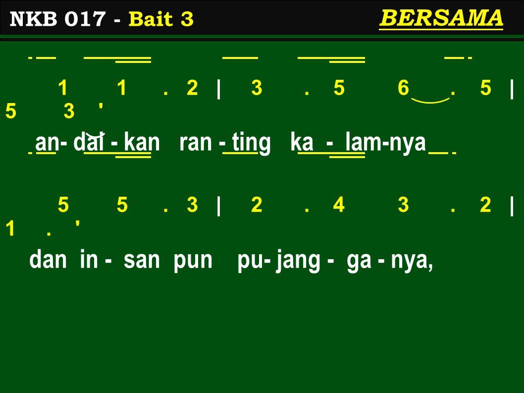 1 1. 2 | 3. 5 6. 5 | 5 3 ' an- dai - kan ran - ting ka - lam-nya 5 5. 3 | 2. 4 3. 2 | 1. ' dan in - san pun pu- jang - ga - nya, NKB 017 - Bait 3 BERS