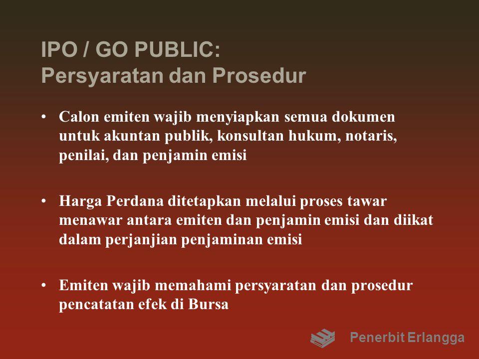 IPO / GO PUBLIC: Persyaratan dan Prosedur Calon emiten wajib menyiapkan semua dokumen untuk akuntan publik, konsultan hukum, notaris, penilai, dan pen