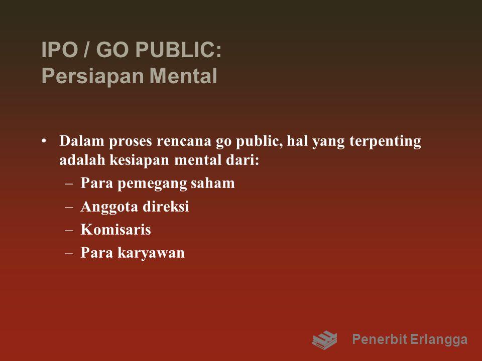 IPO / GO PUBLIC: Persiapan Mental Dalam proses rencana go public, hal yang terpenting adalah kesiapan mental dari: –Para pemegang saham –Anggota direk