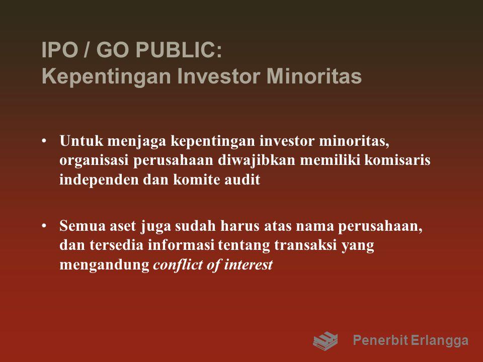 IPO / GO PUBLIC: Kepentingan Investor Minoritas Untuk menjaga kepentingan investor minoritas, organisasi perusahaan diwajibkan memiliki komisaris inde